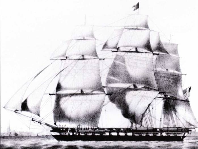 Cumberland вскоре после спуска на воду, гравюра Курье и Ив.