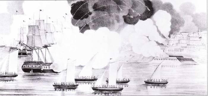 Обстрел Триполи в ходе войны с североафриканскими пиратами. На переднем плане изображен Constitution, за ним President.