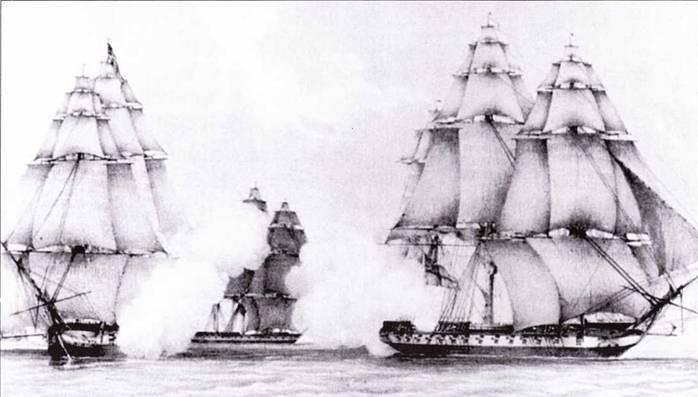 Сразу после объявлении войны в море вышла американская эскадра, в составе которой были фрегаты President и United States. Командовал эскадрой коммодор Роджерс. Американцы обнаружили и попытались перехватить британский фрегат HMS Belvedera, но противнику после долгого преследования удалось уйти.