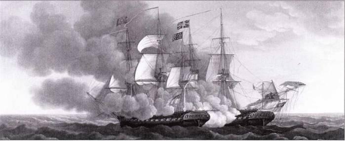 Британские фрегаты неизменно побеждали более крупные корабли противника на протяжении Наполеоновских войн. Когда британский фрегат Guerriere, когда-то захваченный британцами у французов, встретил более крупный американский фрегат Constitution, он без колебаний принял бой. В течение непродолжительного боя американцы одержали первую крупную победу в войне.
