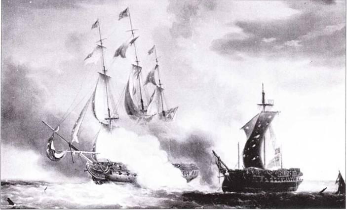 Фрегат Constitution перехватил в районе южноамериканского побережья и победил британский фрегат HMS Java. Картина кисти художника-мариниста Николя Покока изображает разгар сражения.
