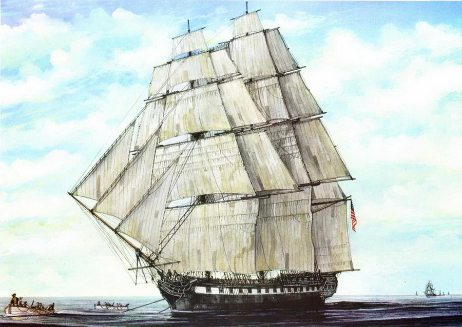 USS Constitution уходит от британской эскадры