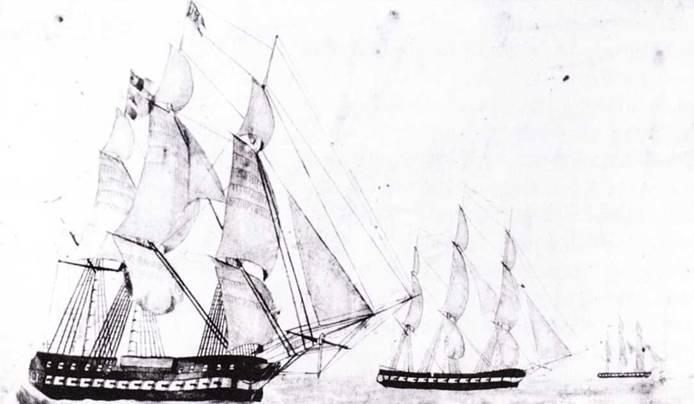 После переделки в начале 1840-х гг. фрегат United States перевели на Тихий океан. В составе экипажа находился Герман Мелвилл, который позднее описал свой опыт плавания в новелле «Белые бушлаты». На рисунке кисти Гуннера Уильяма X. Мейерса изображен фрегат United States в сопровождении шлюпов Суапе, St. Louis, Yorktown и Shark.
