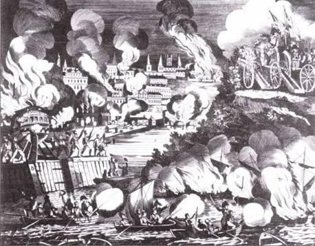 Гравюра изображающая сожжение Вашингтона британцами. В левом углу виден горящий фрегат Columbia. На самом деле фрегат сожгли сами американцы, прежде чем Вашингтон заняли британцы.