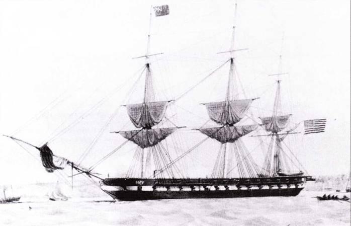 Фрегат St. Lawrence был спущен на воду во время американо-мексиканской войны. Фрегат был неплохим, но он устарел еще на стапеле. Эта литография показывает фрегат у берега острова Уайт во время его первого боевого похода.