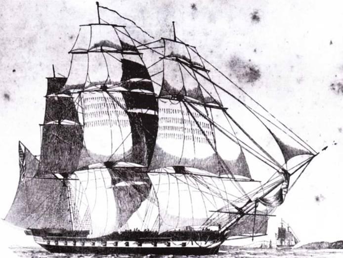 United States был первым фрегатом, построенный Хамфризом. Он пользовался признанием моряков на всем протяжении своей службы. На рисунке фрегат изображен таким, каким он был в 1840-е гг. Рисунок с руководства по морскому делу.