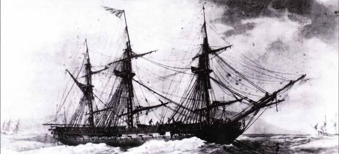 Последний, построенный Хамфризом фрегат, получил имя President. Это был и самый быстрый из его фрегатов. На этой акварели кисти Антуана Ру фрегат President изображен стоящим на якоре в порту Марселя в 1802г. Обратите внимание на приспущенные мачты.