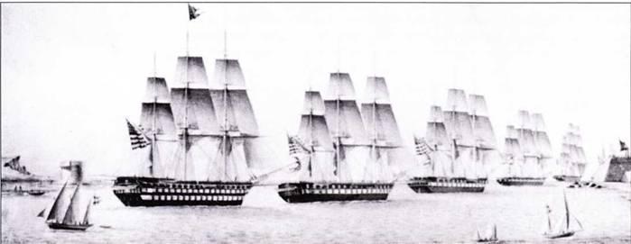 Фрегаты «постепенного роста» были построены в дополнение оригинальным фрегатам Хамфриза. На этой акварели кисти А. Карлотты, средиземноморская эскадра изображена покидающей Порт-Маон на Менорке, январь 1825г. Фрегаты Constitution и Brandywine идут впереди линейного корабля North Carolina.