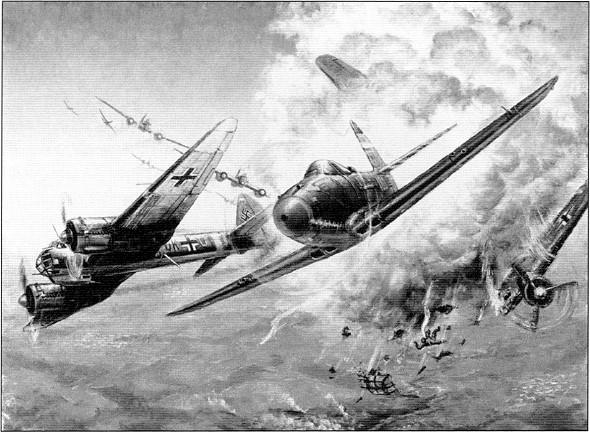 «Воздушный бой А.И.Покрышкина 21 сентября 1943г. над Большим Токмаком». Картина летчика-покрышкинца Алексея Закалюка