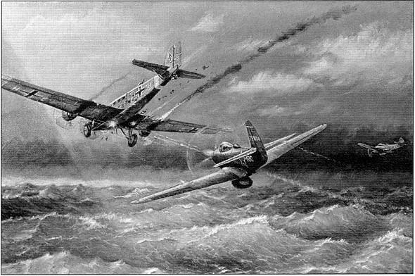 «Свободная охота» А.И.Покрышкина над Черным морем. Ноябрь 1943г.» Картина летчика-покрышкинца Алексея Закалюка