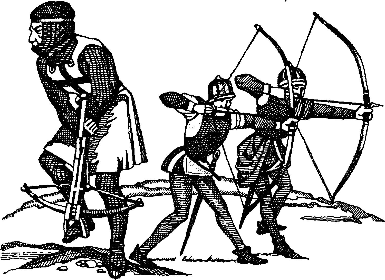 Арбалетчик и лучники времен рыцарских орденов