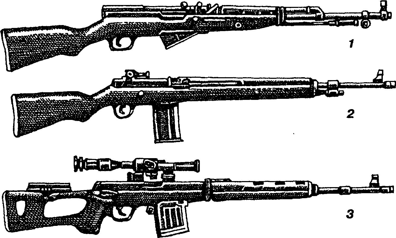 Малокалиберные винтовки: 1. СКС (СССР); 2