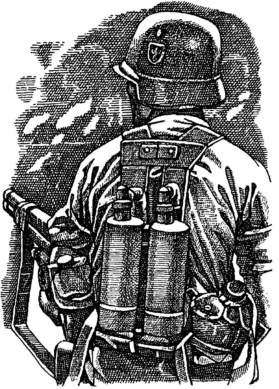 Немецкий солдат с огнеметом
