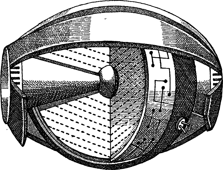 Схема сферического ударно–волнового излучения