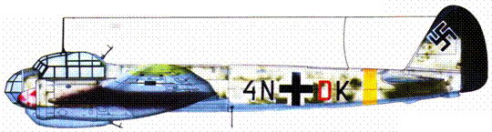 Ju-88D-I (4N+DK), 2.(F)/22, Восточный фронт. Самолет не оснащен устройством FuBl 2 в хвостовой чисти фюзеляжи.