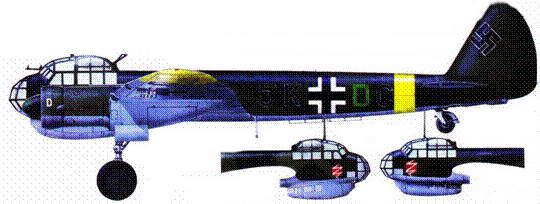 Ju-88A-4 (SK-jpC) из KG 3 «Blitz», Восточный фронт, вторая половина 1941 годи. Эмблема полка находится по бортам фюзеляжа под фонарем кабины пилота.