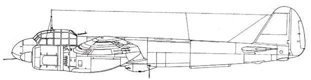 Junkers 88 С-5 дневной истребитель под фюзеляжем размещена гондола с двумя пулеметами MG 17