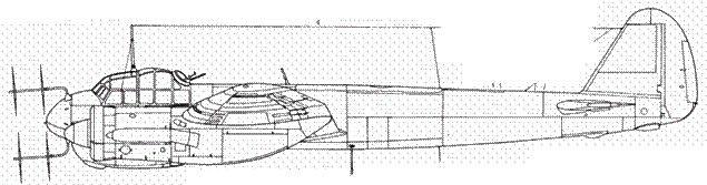 Junkers 88 С-6 ночной истребитель с радаром FuG 220 Lichtenstein SN 2 в центральной части фюзеляжа – 20-мм пушка MG 151/20