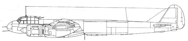 Junkers 88 H-2 в передней части фюзеляжа – две пушки MG 151/20 под фюзеляжем – гондола с четырьмя MG 151/20