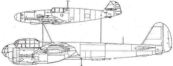Mistel S1 учебный вариант сцепка Ju 88 A-4/Bf 109 F-4