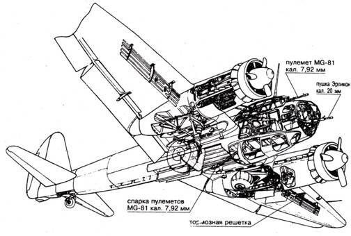 Компоновочная схема Ju 88А-6