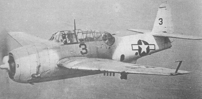 ТВМ-3, окрашенный в соответствии с камуфляжной схемой Atlantic Anti-submarine II, в цвета Dark Gray и Insignia White. Под левым крылом, установлен фотопулемет для съемки результатов ракетной атаки вражеских подводных лодок.