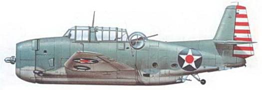 Один из первых построенных TBF-1 Эвенджеров (Bu№00373), март 1942 юла. TBF-1 ранних выпусков несли камуфляжную окраску, составленную из цветов Light Gray и Blue-Gray с бело-красными полосами на руле направлении.