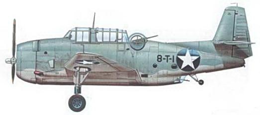 TBF-1 из восьмой торпедной эскадрильи (VT-8), на котором летал энсин А.К. Эрнест во время Битвы за Мидуэй. Из шести Эвенджеров VT-8 атаковавших 4 июня 1942 года японские авианосцы уцелел только он один.