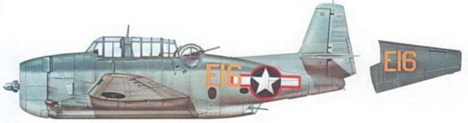 TBM-I (Bu№24737) с авианосца USS Mission Bay (CVE-59) несет знаки национальной принадлежности с красной обводкой, обозначения такого типа использовались и период между июнем и октябрем 1943 года.