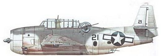 Справа: TBM-1C из эскадрильи VC-42 базируюшейся на авианосце USS Bogue (CVE-9), который осуществлял противолодочные операции в Аглаи I икс в сентябре 1943 года. Дли борьбы с немецкими подводными лодками Эвенджеры вооружались <a href='https://arsenal-info.ru/b/book/3626937238/38' target='_self'>глубинными бомбами</a> и авиационными ракетами.