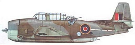 Слева: Тарпон Мк II (ТВМ-1С) из 845-й эскадрильи FAA базирующейся на авианосце HMS Ameer.