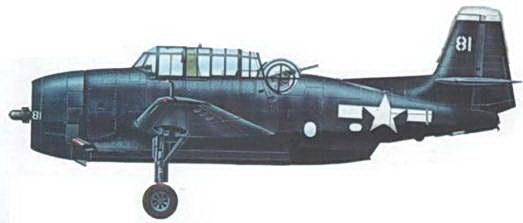 ТВМ-3, окрашенный полностью в цвет Sea Blue из эскадрильи VC-9 базирующейся на авианосце USS Natoma Bay (CVE- 62), 7 июня 1945 года.