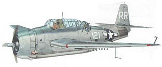 """ТВМ-3 из эcкадрилmb VT-88, на что указывает буквенный код """"RK"""" (белого цвета) на хвосте, базирующейся на авианосце USS Yorktown (CV-10), 27 июля 1945 года."""