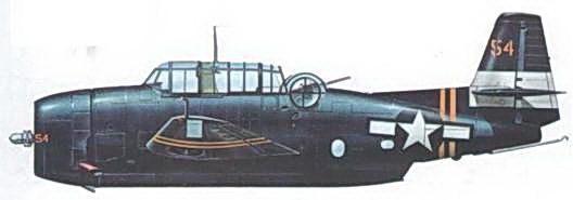 ТВМ-3Е Корпуса морской пехоты из эскадрильи VMTB-132, авианосец USS Саре Gloucester, июль 1945 года. В 1945 году авиагруппы на некоторых эскортных авианосцах (CVE) были составлены из эскадрилий морской пехоты.