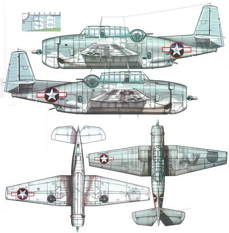 """TBF-1 Эвенджер принадлежащий учебно-тренировочной эскадрильи, вторая половина 1943 года, Самолет несет старый /двухцветный камуфляж, который получил на заводе-изготовителе, Видны следы закрашенных опознавательных таков на верхней поверхности правого крыла (вероятно, это краска Semi Gloss Sea Blue, так как пни следы хорошо видны), а также новые опознавательные таки с кроеной обводкой, введенной в конце июня 1943 года. Самолет имеет замазанное обозначение «А 7» на крыле, на фюзеляже нарисовано новое обозначение """"S 8"""" белого цвета."""