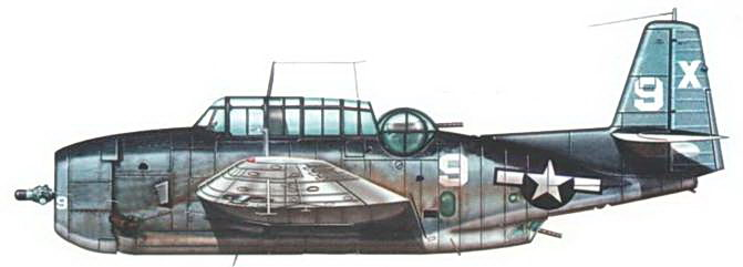 ТВМ-1 Эвенджер из эскадрильи VT-51, базирующейся на авианосце USS San Jacinto (С VI.- 30), середина сентября 1944 года. Самолет в стандартном трехцветном камуфляже, на руле направления знак быстрой идентификации в виде белой литеры «X», который использовался в тот период для самолетов данного авианосца.