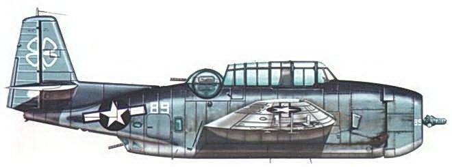 TBM-IC Эвенджер из эскадрильи VC- 76, базирующейся на авианосце USS Petroff Bay (CVE-80), конец января 1945 года. Самолет несет стандартный трехцветный камуфляж, а так же знак быстрой идентификации в виде белого четырехлистника на вертикальном стабилизаторе, который в этот период использовался для самолетов данного авианосца.
