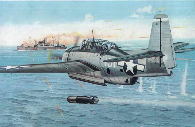 ТВМ-3 Эвенджер из эскадрильи VT-4 базирующейся на авианосце USS Essex (CV-9), пилотируемый энсином Вильямом X. Кеннеди, прорываясь через интенсивный заградительный огонь, проводит торпедную атаку японского грузового корабля у мыса Дю Сан-Жаке, Французский Индокитай 12 января 1945 года.