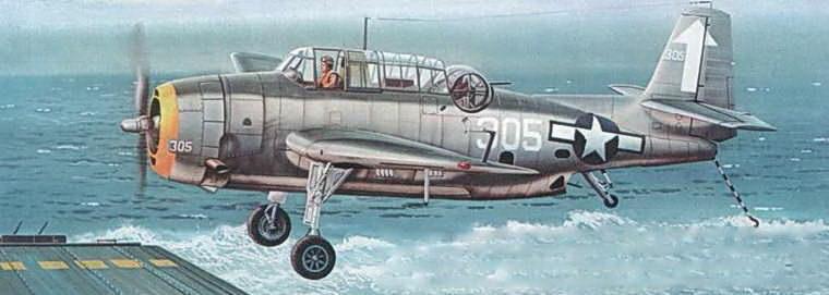 ТВМ-3 из 84-й торпедной эскадрильи (VT-84), садящийся на палубу авианосца USS Bunker Hill (CV-17) после успешно завершенного вылета на бомбардировку целей в Токийском заливе. Желтое кольцо на капоте двигателя — специальная маркировки самолетов осуществлявших рейды на Токио и Хонсю.