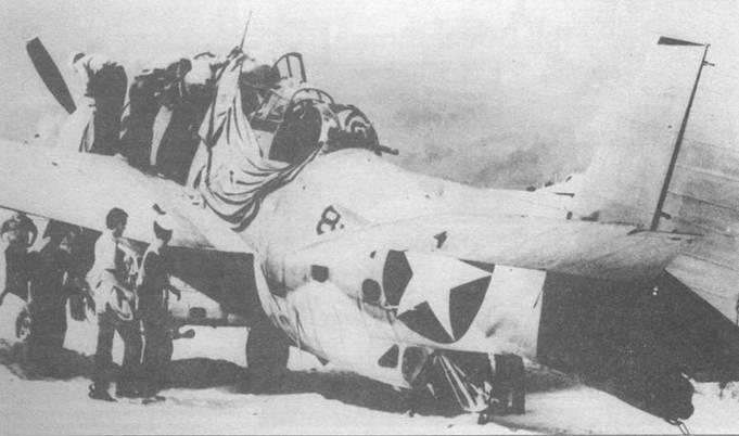 Энсин А.К. Эрнест совершил аварийную посадку на своем TBF-1 (8-Т-1) на острове Мидуэй с поврежденными тягами руля высоты и экипажем, один член которого был убит, а другой ранен. «8-Т-1» был единственным возвратившимся Эвенджером из шести самолетов эскадрильи VT- 8, которые вылетели для атаки группы японских боевых кораблей.