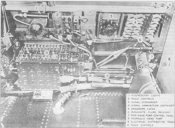 Правая сторона кабины пилота TBF-1. Радио и электрические средства управления сгруппированы на панели правого борта. Пусковое устройство сигнальных ракет (поз. 3) предназначалось для подачи сигналов, когда авианосцы соблюдали режим радиомолчания.