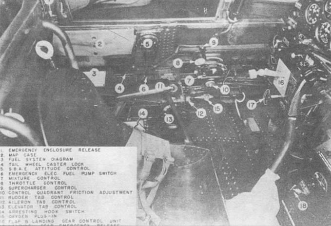 Левая сторона кабины пилота TBF-1. Внутри кабина была окрашена краской Zink Chromate Green primer, пульты и приборная доска — краской Instrumental Black.