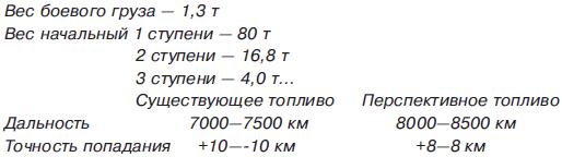 Значительное увеличение радиуса действия, по сравнению с баллистической ракетой того же стартового веса, достигается за счет использования подъемной силы оперенного снаряда на участке планирования. Траектория полета ракеты характеризуется следующими параметрами: начальные высота и скорость планирования – 45км и 16 000км/ч, высота над целью при планировании – 35км, а с динамическим забросом – 50км, скорость над целью 7500км/ч. Общее время полета – 40 минут.