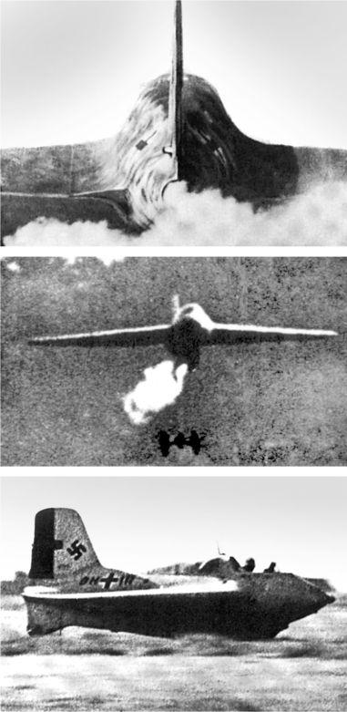 Вверху: запуск двигателя. В центре: взлет Me 163Б, видно, как падает взлетная тележка. Внизу: посадка Me 163B.