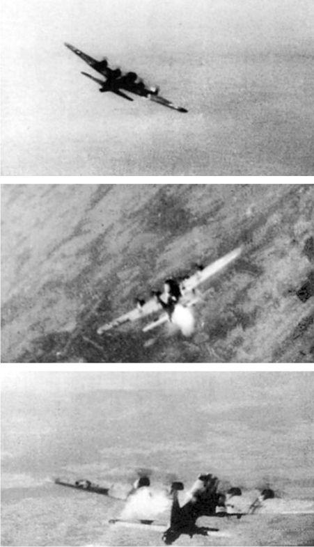 Эти фотографии атаки на В-17 с камеры Me 163 фельдфебеля Зигфрида Шуберта.