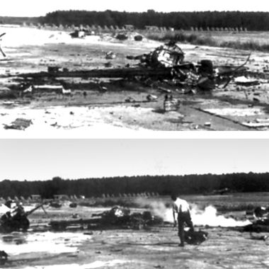 На этих фотографиях показана авария Ме 163s во время взлета. Самолет справа взорвался вскоре после пробежки на взлете. Эта трагедия, как полагают, произошла где-то в сентябре 1944 года, но никаких записей о человеческих жертвах и потерях техники не найдено.