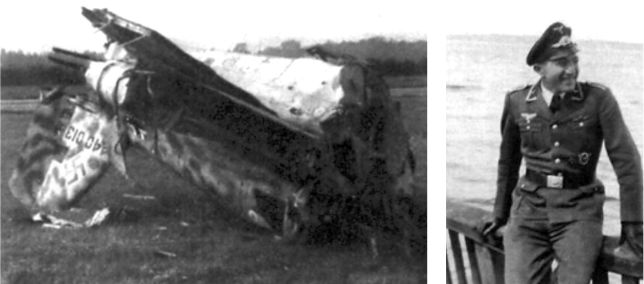 Фельдфебель Манфред Айзенманн из 2./JG 400, позирует на берегу озера во время тренировки EKdo 16. Айзенманн погиб по возвращении из неудачного боевого вылета 7 октября 1944г. (слева).
