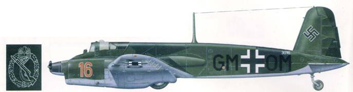 Hs 129A-0 красная «16» был пятнадцатым из 16 предсерийных машин этого типа, переданных в Школу штурмовой авиации под Парижем в 1943 г. В мае эта машина была разбита при вынужденной посадке из-за остановки двигателей. Пехотный штурмовой знак нанесен на лбу носовой части самолета перед кабиной летчика.