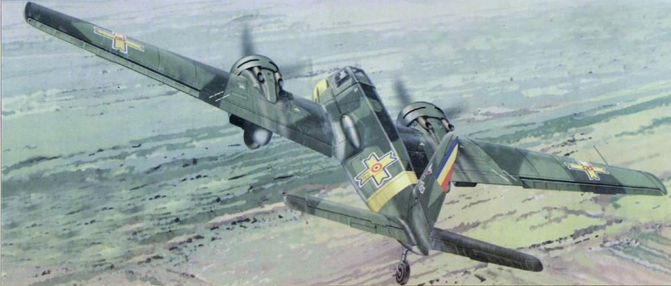 Hs 129В-2 румынских ВВС на Восточном фронте, 1944 г. Этот самолет был подбит огнем с земли 29 апреля 1944 года и совершил вынужденную посадку. После ремонта использовался румынами для тренировок летчиков.