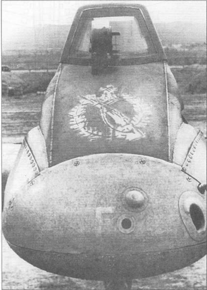 Изображения почетного знака вермахта «За штыковую атаку» пользовалось большой популярностью у летчиков Hs-129, на этом Hs-129 изображение знака нарисовано белой краской на фюзеляже перед стеклом фонаря кабины. Небольшое отверстие в передней части фюзеляжа сделано для объектива фотокинопулемета, большой – воздухозаборник системы отопления кабины. Обе «дыры» введены в конструкцию штурмовика начиная с самолета W.Nr.0331.